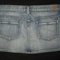 Guess Jeans Blue Stretch Denim Straight Acid Wash Micro Mini Skirt Sz30 31x11.5
