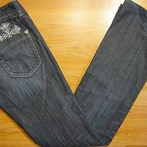 Guess Jeans Boot Cut Size 27 Long Women Denim Dark Blue Jeans Bootcut Low Rise Photo