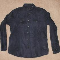 Guess Jeans Button-Down Shirt Navy Blue Large L Vtg  Denim Casual Dress Men's Photo