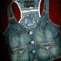 Guess Jeans Denim Blue Stretch Vest  Metal Buttons Embroidered Pockets Szm Euc Photo