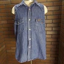 Guess Jeans Design Sleeveless Denim Jean Vest Western Washed Blue Ladies M Photo