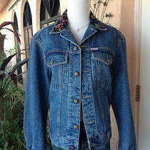 Guess Jeans Jacket Velvet Embroider Collar Ladies Womens Sz S  Designer Denim  Photo