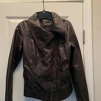 Guess Jeans Leather Jacket  Distressed Motorcycle Biker Coat Vintage Small Photo