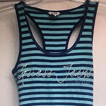 Guess Jeans Medium Blue/green Striped Racerback Tank Top W/ Rhinestones Photo