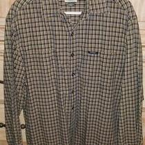 Guess Jeans Men's L Button Down Plaid White Navy Blue & Yellow Long Sleeve Shirt Photo