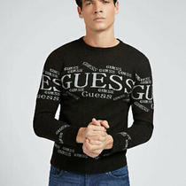 Guess Jeans Mens Logo Jacquard Sweater M0br58z2pn0 Sweatshirt Black Photo