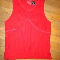 Guess Jeans Red Sleeveless Lace Top - 12 - 14 - Great for Holidays Photo