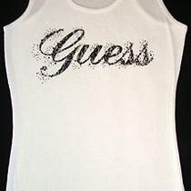 Guess Jeans  Rhinestones  Tank T-Shirt Tee T Shirt  Top Blouse  White  Nwt  L Photo