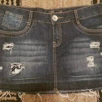 Guess Jeans Ripped Frayed Distressed Denim Skirt Size 30 Euc Photo