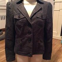 Guess Jeans Stretch Medium Military Gray Button Blazer Jacket Photo