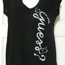 Guess Jeans Tee Black  Silver Glitter v-Neck T-Shirt Size L Photo