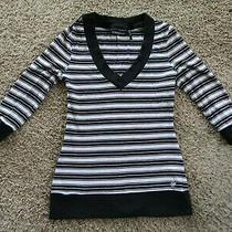 Guess Jeans v-Neck Black/white Stripe 3/4 Sleeve Cotton Women's T-Shirt Size L Photo