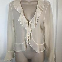 Guess Jeans Wmn Sz L Cream Ruffle 100% Silk Blouse Front Tie Shirt  Photo