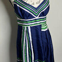 Guess Jeans Women's Blue Green White Logo Fit & Flare Lined Dress Size 7 Medium Photo