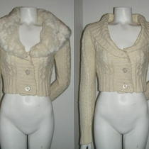 Guess Jeans Women's Ivory Wool Faux Fur Long Sleeve Sweater Knit Top  Sz. Xs Tp Photo