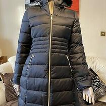 Guess Jeans Womens New Black Down Feather Long Jacket Size Large Uk  Photo