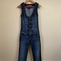 Guess Jeans Womens Size 2 Button Front Scoop Neck Sleeveless Jumpsuit Overall Photo