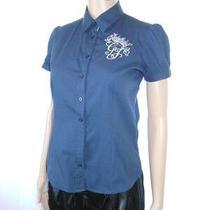 Guess Jeans Womens Short Sleeve Casual Blue Classic Mod Cotton Blouse Sz Xs Ai35 Photo