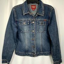 Guess Jeans Womens Size Large Blue Denim Silver Button Front Pockets Crop Jacket Photo