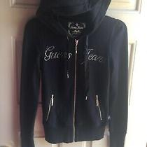 Guess Jeans Womens Zippered Logo Bling Hoodie Xs Photo