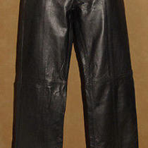 Guess - Jet Black - Genuine Soft & Smooth Leather Pants - Ankle Zip Size 0 Nice Photo