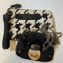 Guess & Juicy Couture Clutch Purse & Crossbody Black Cream Set of 2 Photo