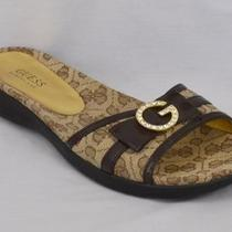 Guess (Kissing) Womens Sandals Shoes Slides Size 8 M Brown With Gold Emblem Photo