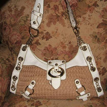 Guess Knit & Faux Ostrich White Tan Handbag - 16