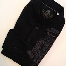 Guess L/s Men's Black With Embroidered Decal Slim Fit Shirt Sz Small - Nwt Photo