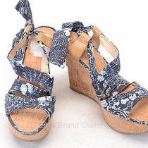 Guess L8 r7.5 Blue Floral Ankle Wrap Platform Wedge Heel Shoe New Mismate Grd485 Photo