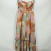 Guess La Size 2 Strapless High Low Chiffon Party Dress Pastel Patchwork Print Photo