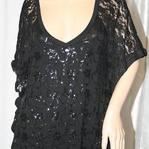 Guess Lace Blouse Dolman Sleeve Black v-Neck Sheer Top L Photo