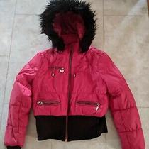 Guess Ladies Bomber Jacket Size Xl Red W/black Fur Trim Removable Hood  Photo