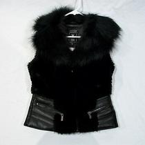 Guess Ladies Leather & Faux Fur Black Vest-Sz Small-New Without Tag Retail 200. Photo