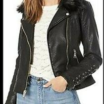 Guess Ladies Short Faux Leather Moto Jacket / Removable Faux Fur Collar Nwt Xl Photo