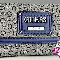 Guess Ladies Women Nwt Wallet Purse Blue Proposal Slg Authentic Photo