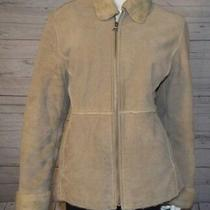 Guess Large Taupe Brown Long Sleeve Faux Fur 100% Genuine Leather Coat Jacket Photo