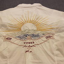 Guess Le Mens White Embroidered Ocean Sunset Los Angeles Snap Ls Shirt Nwt S 79 Photo