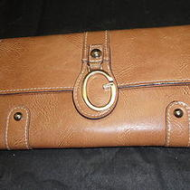 Guess Leather Brown Wallet W/ Checkbook Cover Very Nice Free Shipping Womens Photo