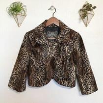 Guess Leopard Print Faux Fur Bolero Cropped Jacket Size Small Photo