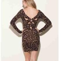 Guess Leopard Print Pinwheel Back Formfitting Bodycon Sweater Dress Sz X-Small Photo