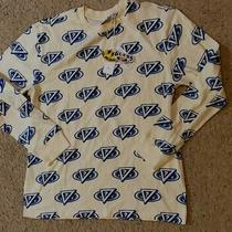 Guess Logo Repeat J Balvin 2020 Long Sleeve T-Shirt Mens Large Blue/oatmeal Nwt Photo