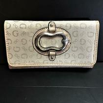 Guess Logo Trifold Clutch Fabric Wallet Beige Stone Credit Cards Slim Photo