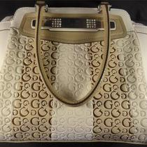 Guess Lolly Satchel Handbag - Cream Brown White Multi-Color - Nwt Photo