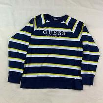 Guess Los Angeles 1981 Mens Striped Sweater Yellow Blue White L Large Pullover Photo
