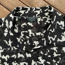 Guess Los Angeles Blouse Long Sleeve Black/beige Button Down Shirt Small (S) Photo