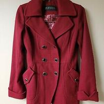Guess Los Angeles Burgundy Red Pea Coat Women's S Lined Jacket Button Photo