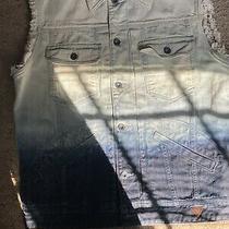 Guess Los Angeles Distressed Dark Wash Denim Vest M Large  Photo