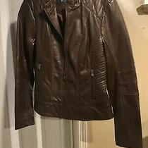 Guess Los Angeles Faux Leather Moto Ladies Jacket Brown Small Medium Nwt Photo