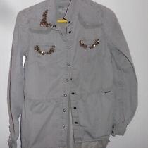 Guess Los Angeles Khaki Sheer Back Shirt Size 8 Vgc   Photo